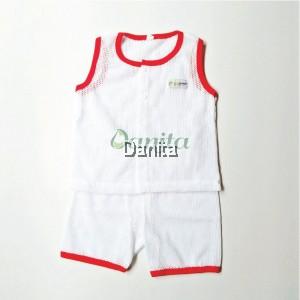 Baju Baby Tanpa Lengan Red White